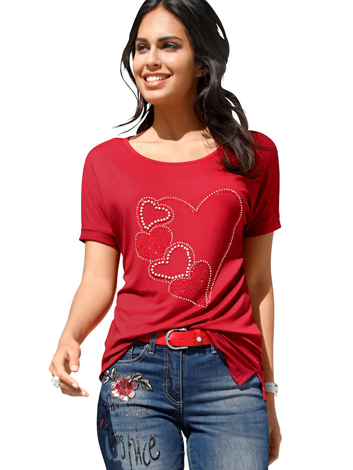 Shirt mit Herzmotiv aus Strass und Perlen