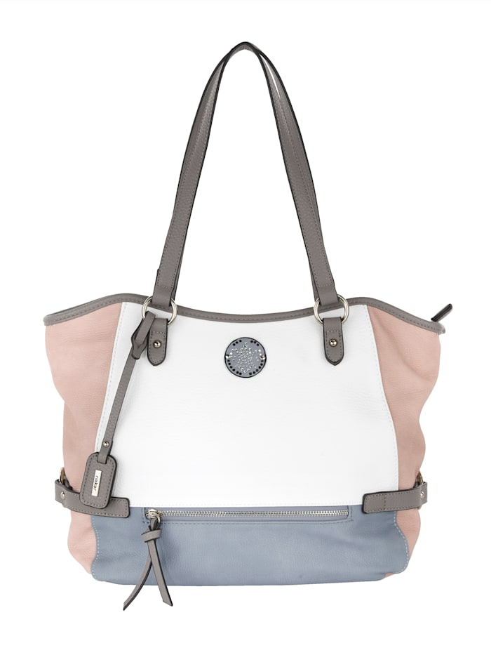 Rieker Handbag in chic colours, White/Rosé/Light Blue