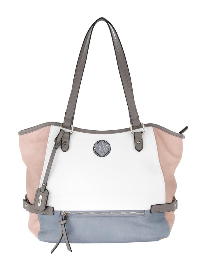 Rieker Shopper in schöner Farbkombination, weiß/rosé/hellblau