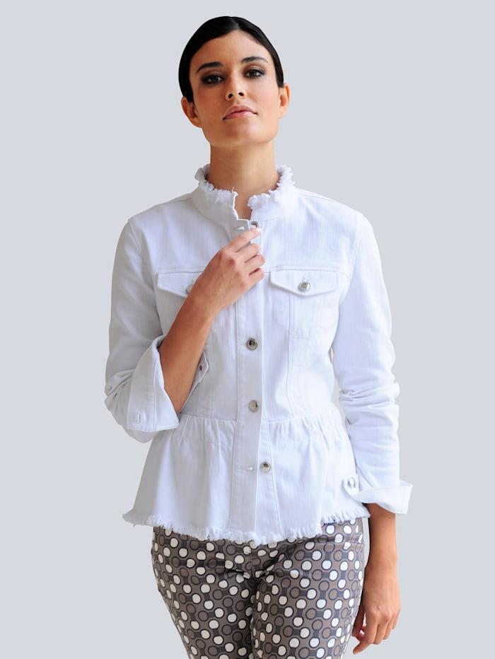 Alba Moda Veste en jean avec bords à finition frangée, Blanc