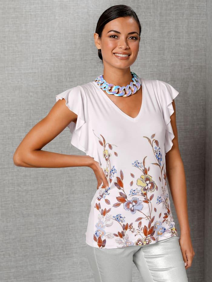 AMY VERMONT Shirt mit floralem Muster, Off-white/Blau