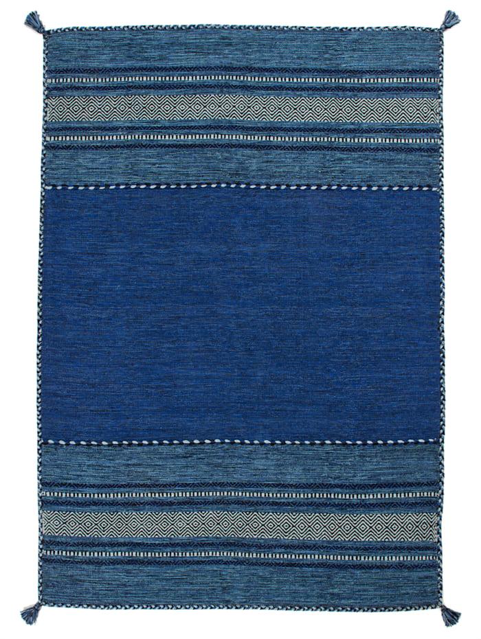 Kayoom Handwebteppich 'Wendel', Blau