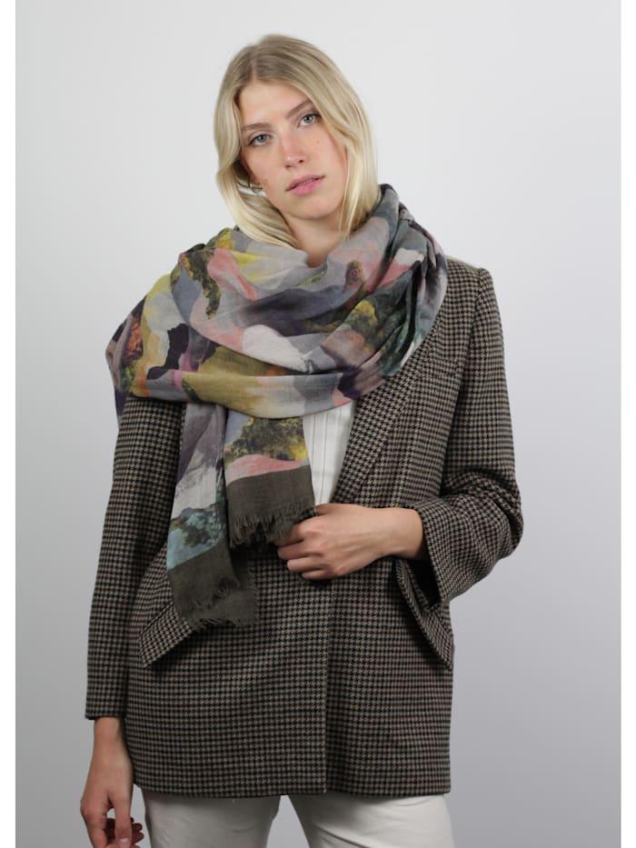 XL-Schal mit Landschafts-Print aus Wolle und Modal