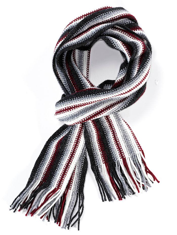 BABISTA Schal mit modischem Streifenmuster, grau-rot