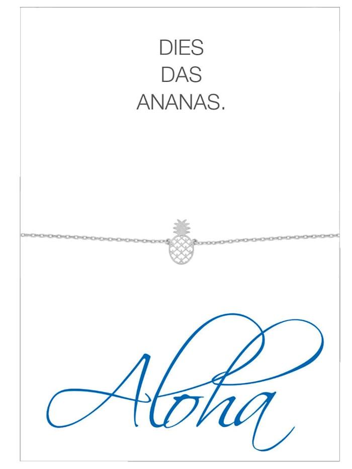 Herzkarte Ananas-Armband, Silberfarben