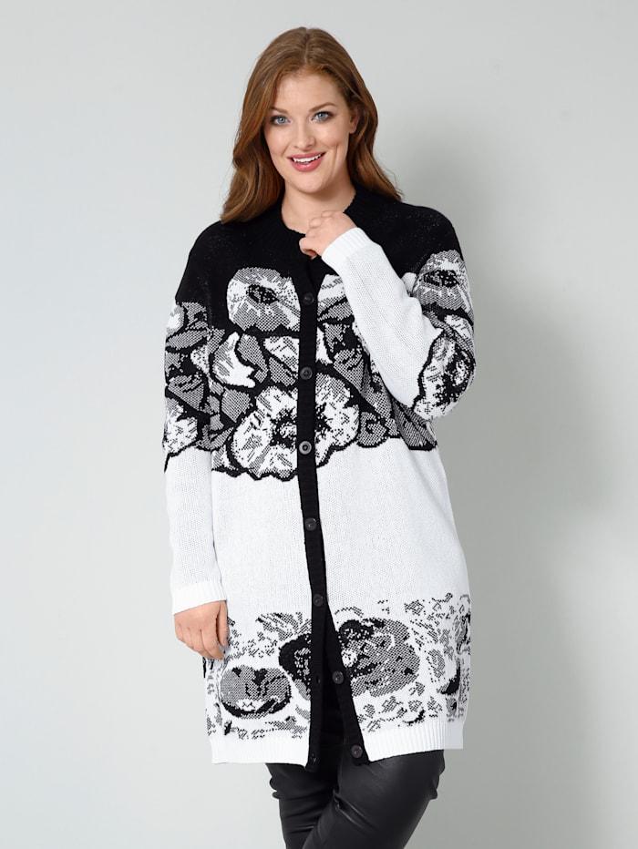 Sara Lindholm Strickjacke mit floralem Muster, Off-white/Schwarz