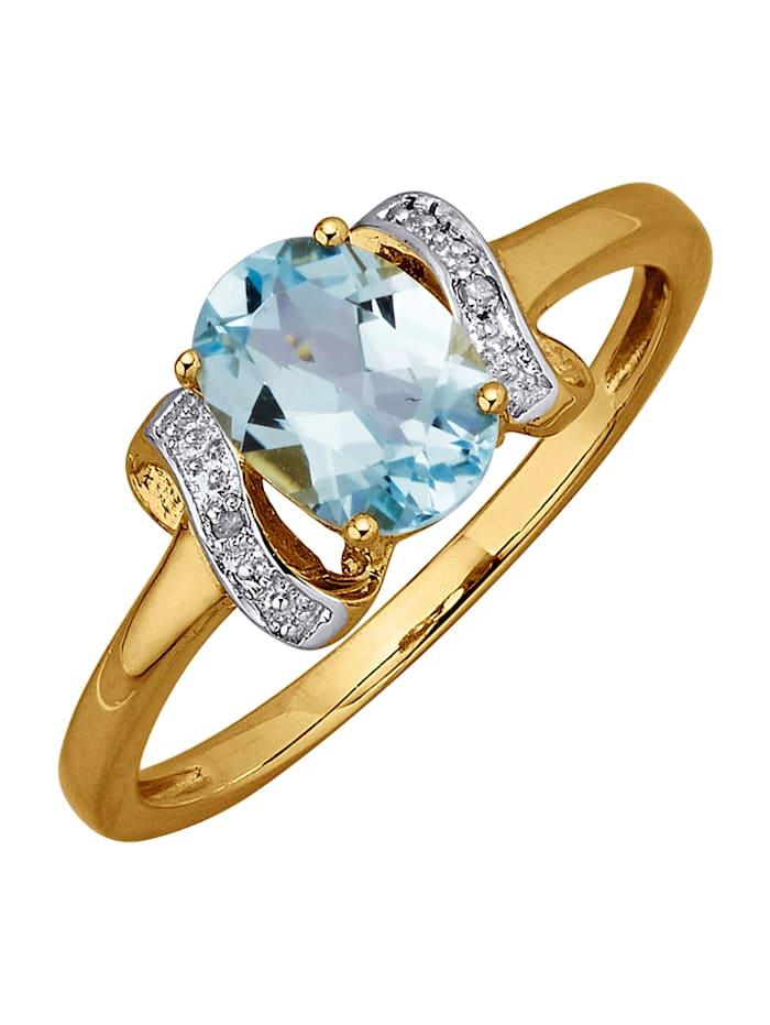 Damesring met blauwtopaas en diamanten, Blauw