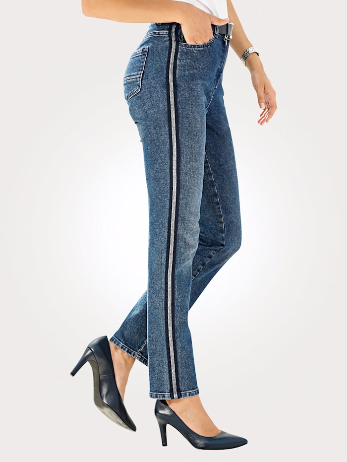Jeans with a galon stripe