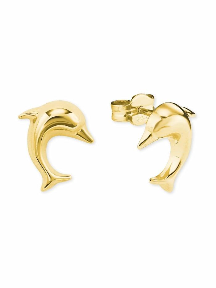 amor Ohrstecker für Damen, Gold 585, Delphin, Gold