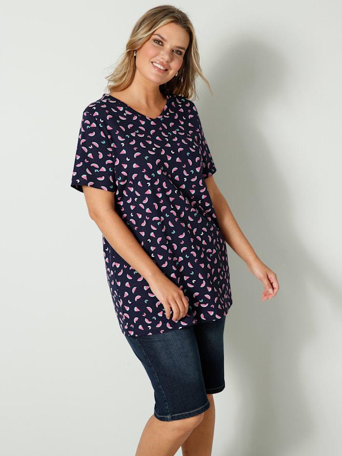 Janet & Joyce Shirt mit Melonendruck, Marineblau/Pink