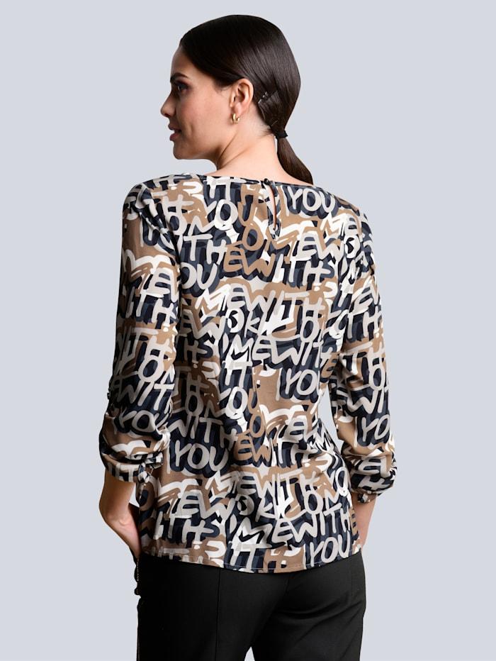 Bluse allover im abstrakten Buchstabendruck