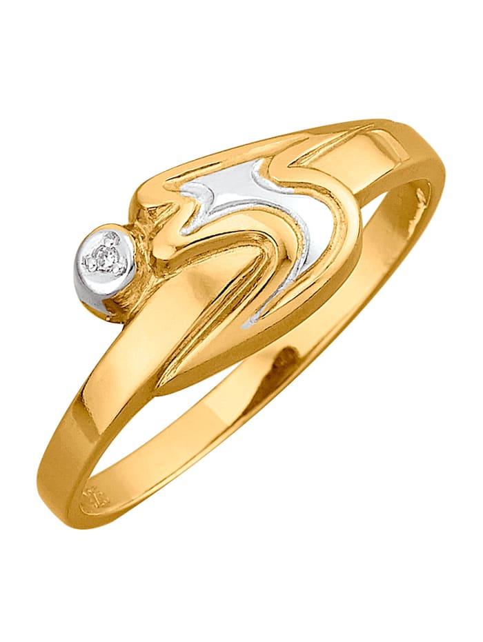 Damenring, 925 mit 1 Diamant, Gelbgoldfarben