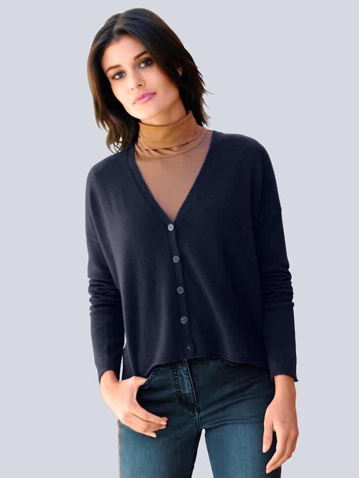 Alba Moda Strickjacke aus reinem Kaschmir, Marineblau