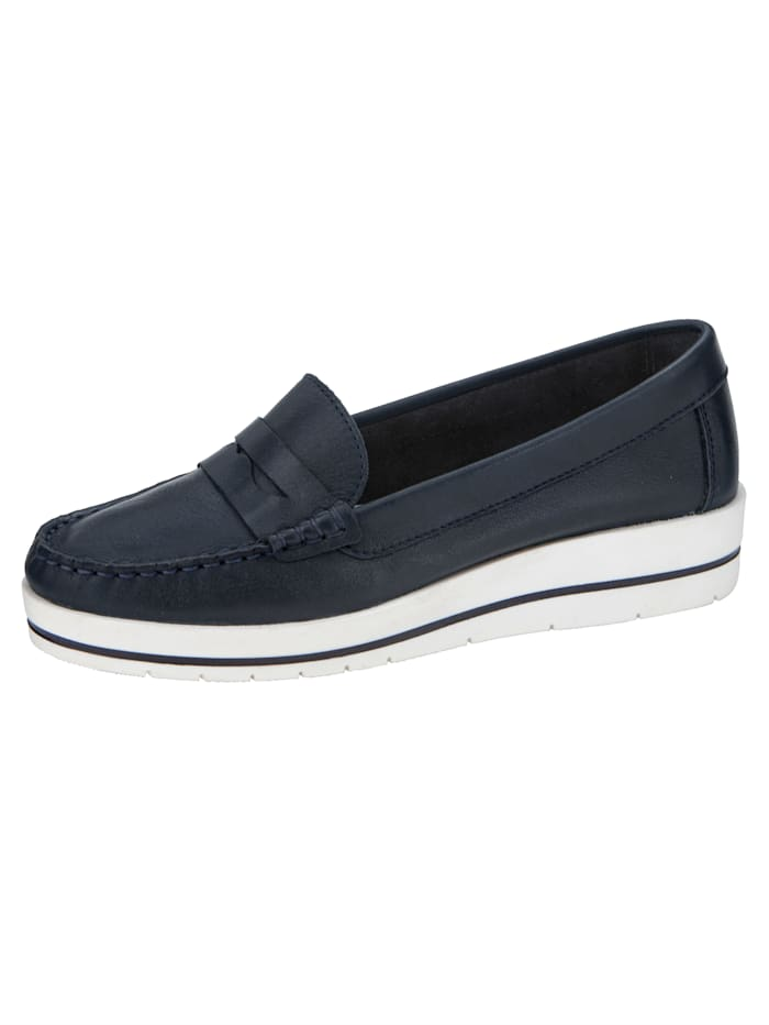 Liva Loop Wedge court shoes in a moccasin style, Navy
