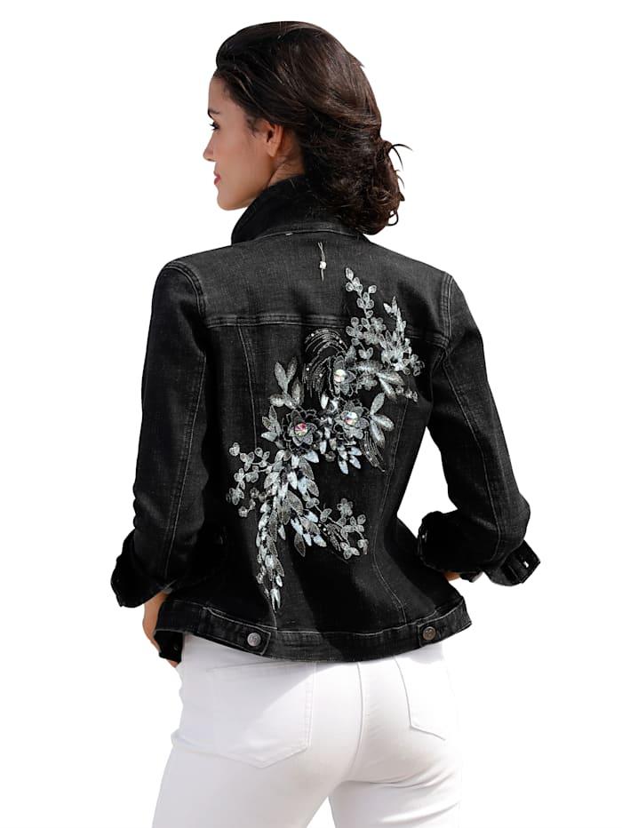 Jeansjacke mit Stickerei und Paillettendekoration
