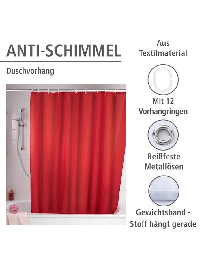 Anti-Schimmel Duschvorhang Uni Red, Textil (Polyester), 180 x 200 cm, waschbar