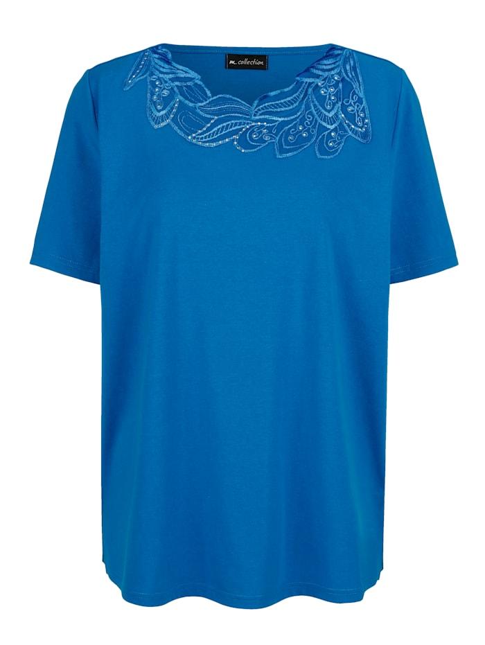m. collection Shirt mit edler Spitze, Blau
