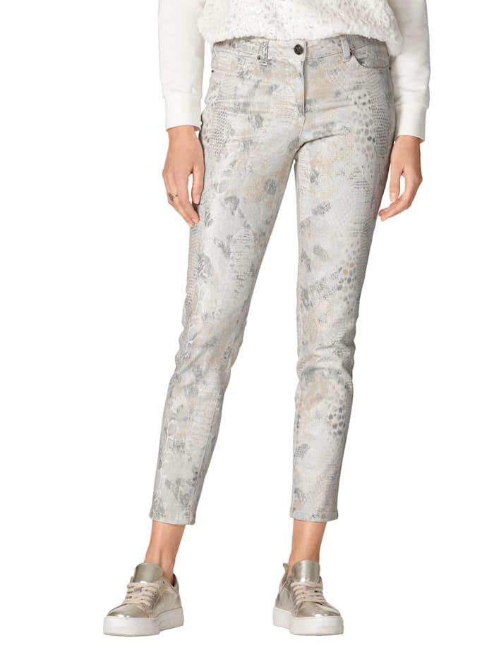 AMY VERMONT Jeans met modieuze animalprint, Ecru/Zilverkleur/Goudkleur