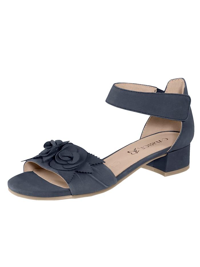 Caprice Sandale mit effektvoller, aufgesetzer Blütenapplikation., Blau