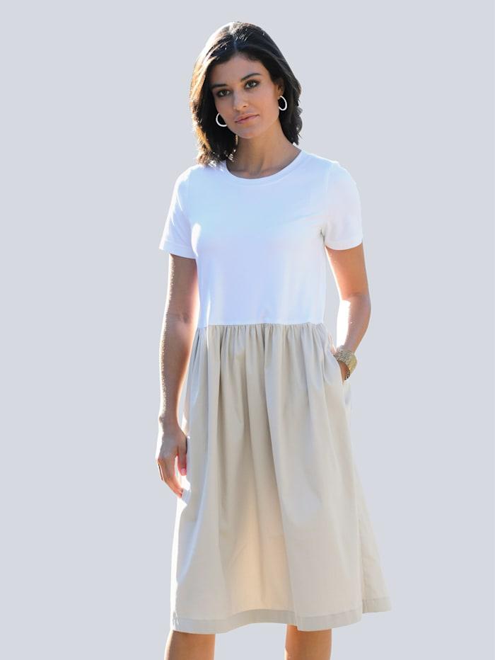 Alba Moda Kleid im trageangenehmen Materialmix, Off-white/Beige