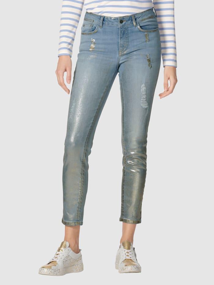 AMY VERMONT Jeans mit Foliendruck und Destroyed-Effekt, Blue bleached/Goldfarben