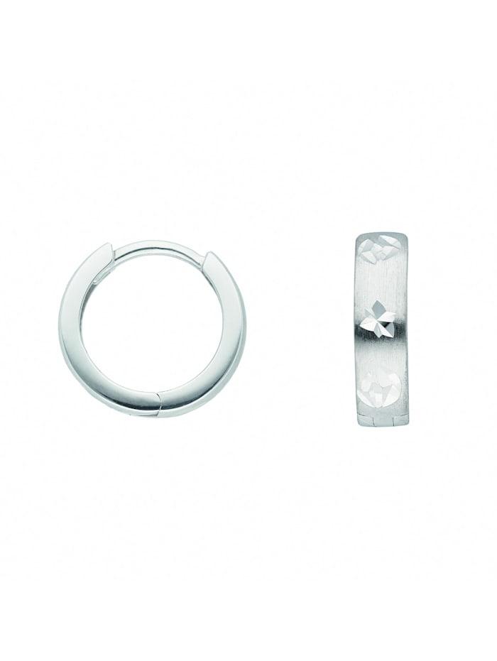 1001 Diamonds Damen Goldschmuck 333 Weißgold Ohrringe / Creolen, silber