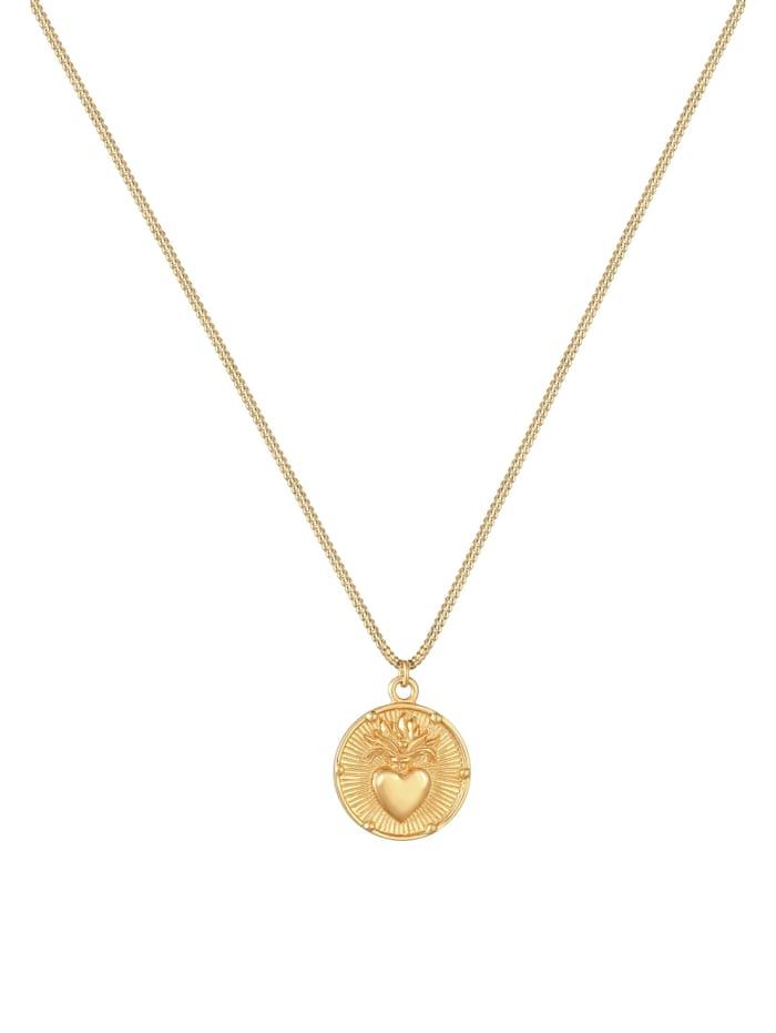 Halskette Coin Herz Flamme Liebe Valentin Vintage 925 Silber
