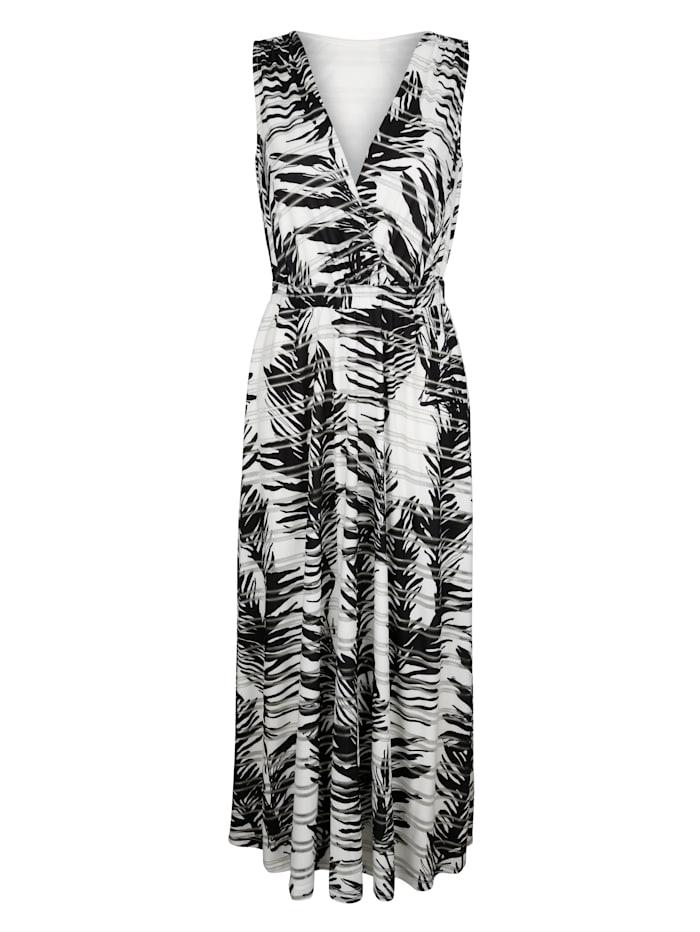 Alba Moda Jerseykleid in floralem Dessin allover, Schwarz/Off-white/Silberfarben