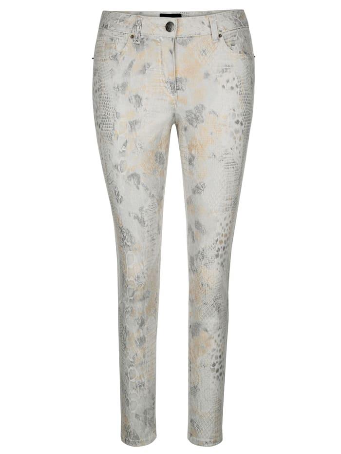 AMY VERMONT Jeans in modischem Animal-Print, Ecru/Silberfarben/Goldfarben