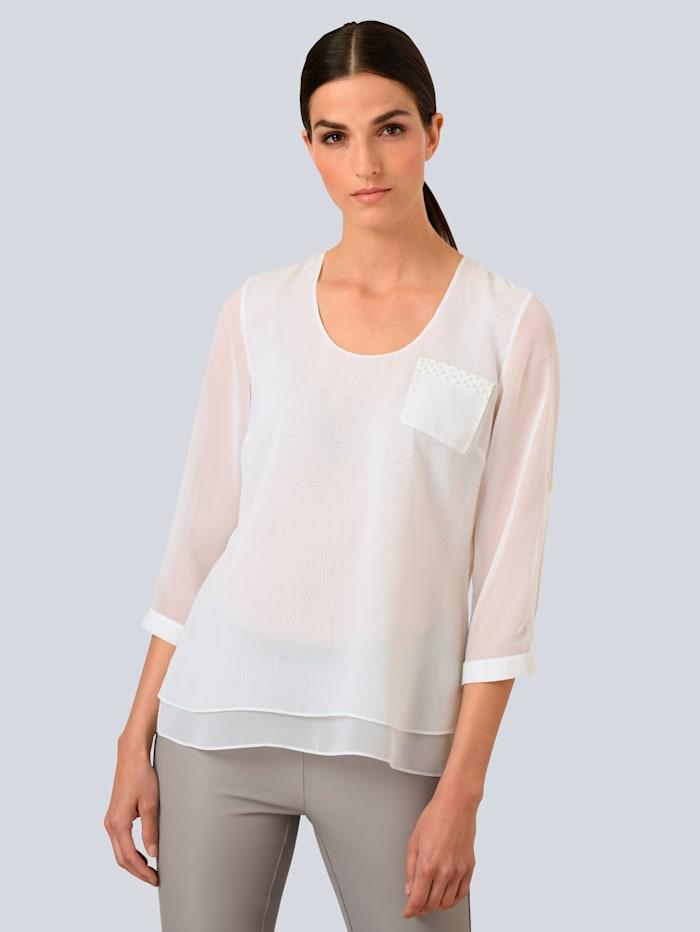 Alba Moda Bluse mit Perlenverzierung, Off-white