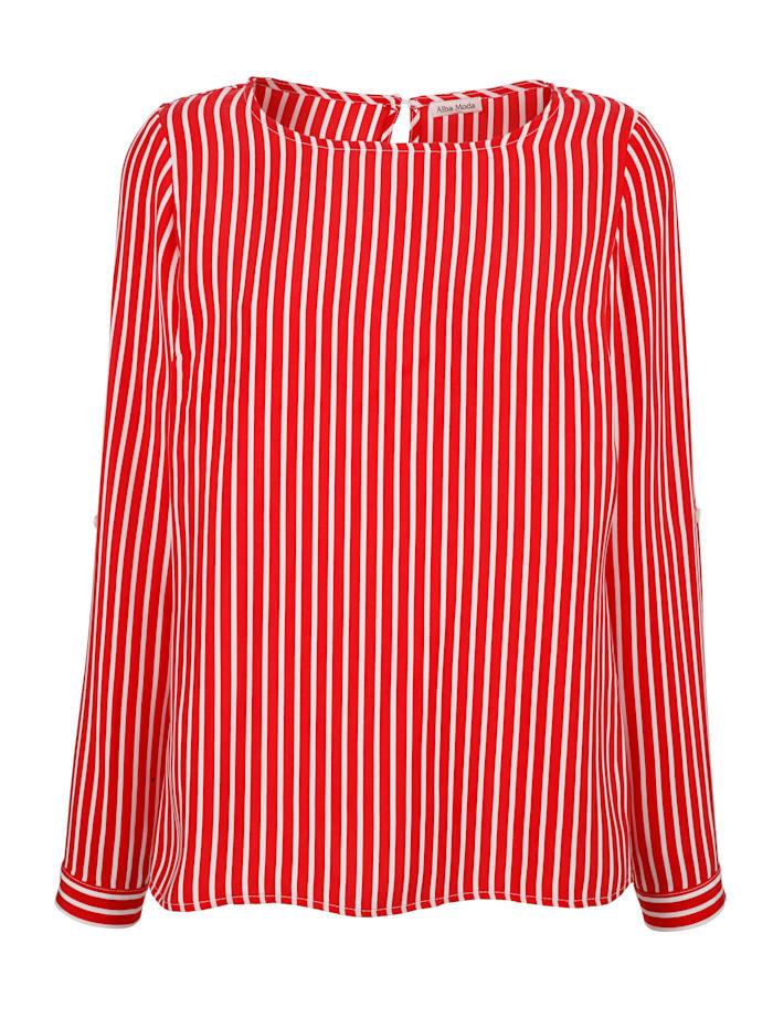 Alba Moda Bluse allover im Streifen-Dessin, Rot/Weiß