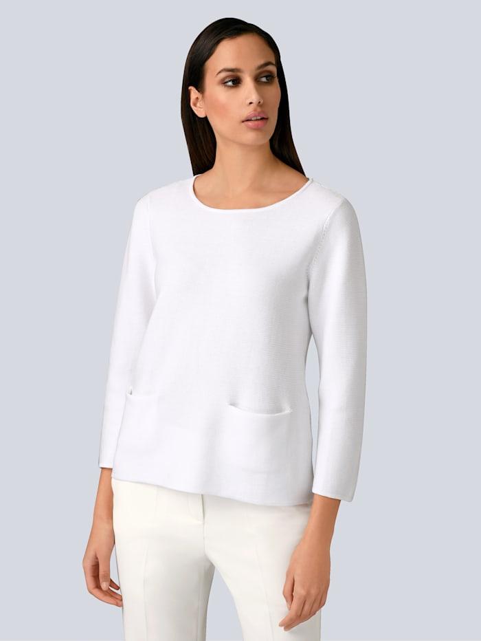 Alba Moda Pullover in Feinstrickoptik, Weiß