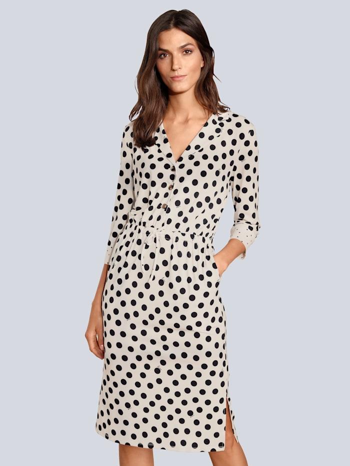 OUI Kleid im Punktedessin, Creme-Weiß