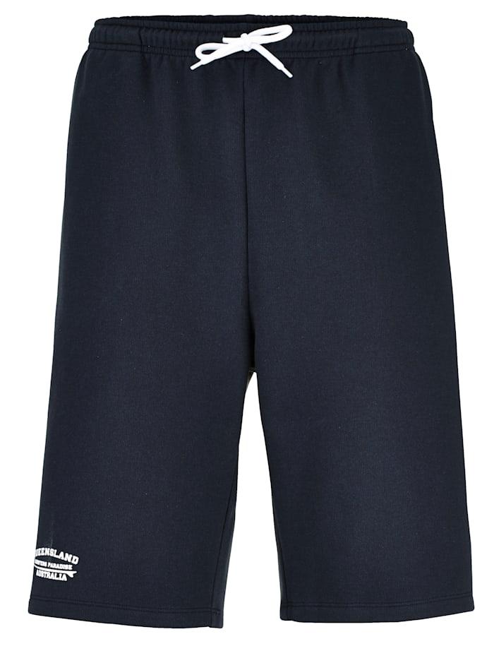 Men Plus Sweat-Bermuda mit Print, Marineblau