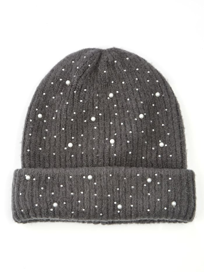 MONA Knitted hat with faux pearl embellishments, Grey
