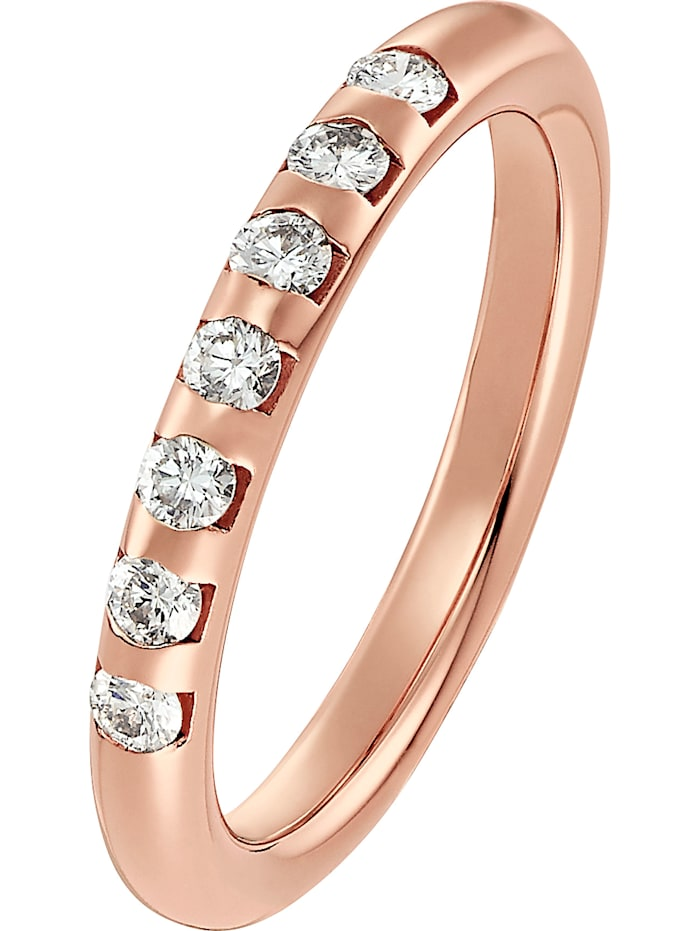 CHRIST C-Collection CHRIST Damen-Damenring 585er Roségold 7 Diamant, Roségold