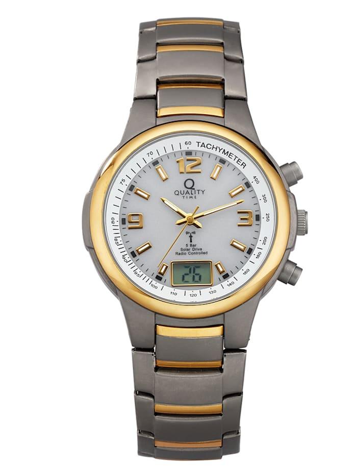 Quality Time Radiografisch solarherenhorloge, Zilverkleur