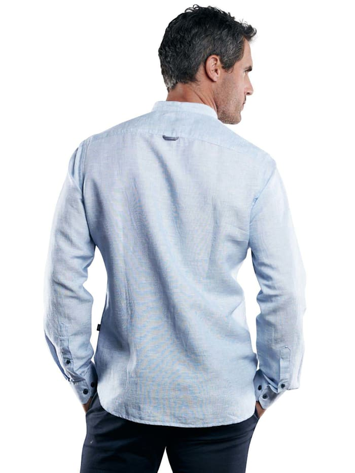 Stehkragenhemd aus Halbleinen