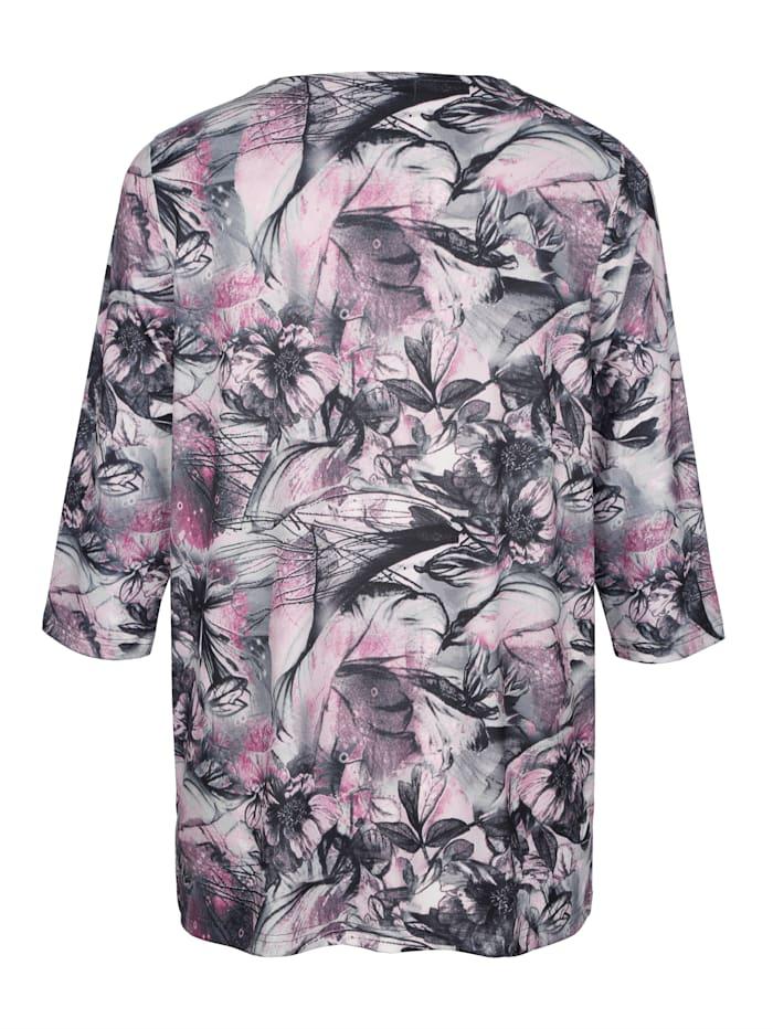 Shirt mit attraktivem plaziertem Blumendruck-Muster