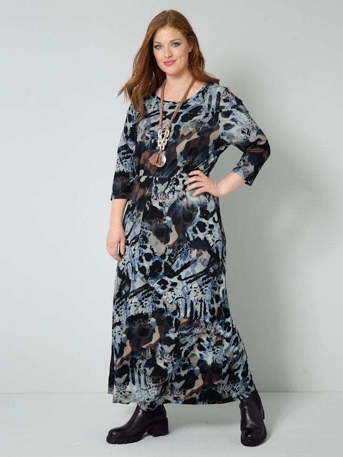 Sara Lindholm Jersey-Kleid in weich fließender Qualität, Blau/Braun