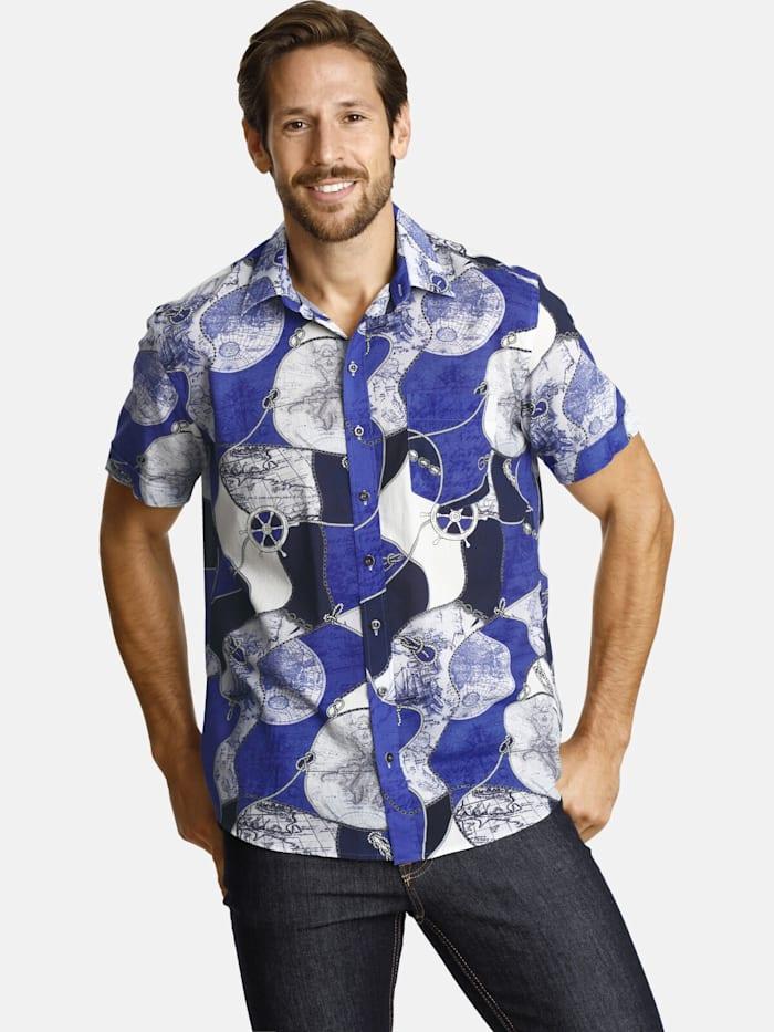 Shirtmaster Shirtmaster Kurzarmhemd aroundtheworld, blau
