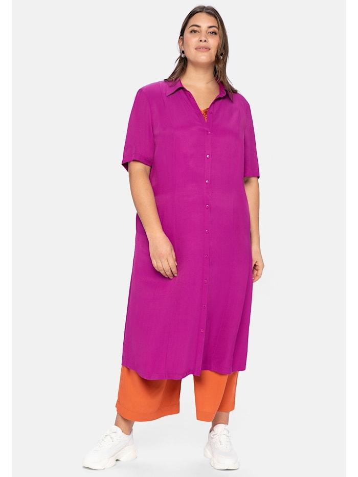 Sheego Hemdblusenkleid mit Knopfleiste und Teilungsnähten, dunkelfuchsia