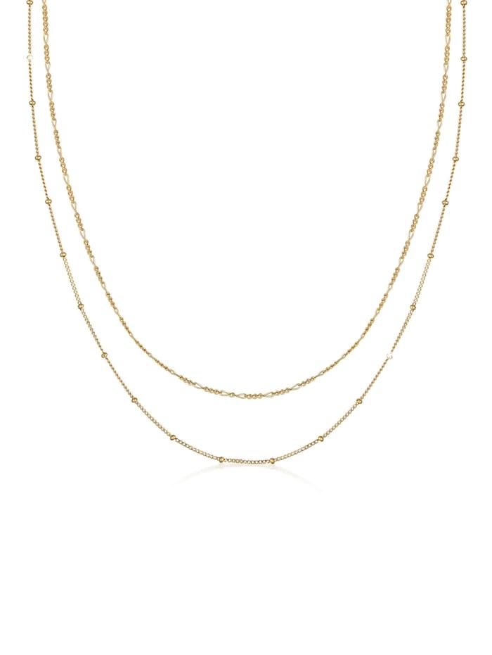 Elli Halskette Basic 2Er Set Kugelkette Figarokette 925 Silber, Gold