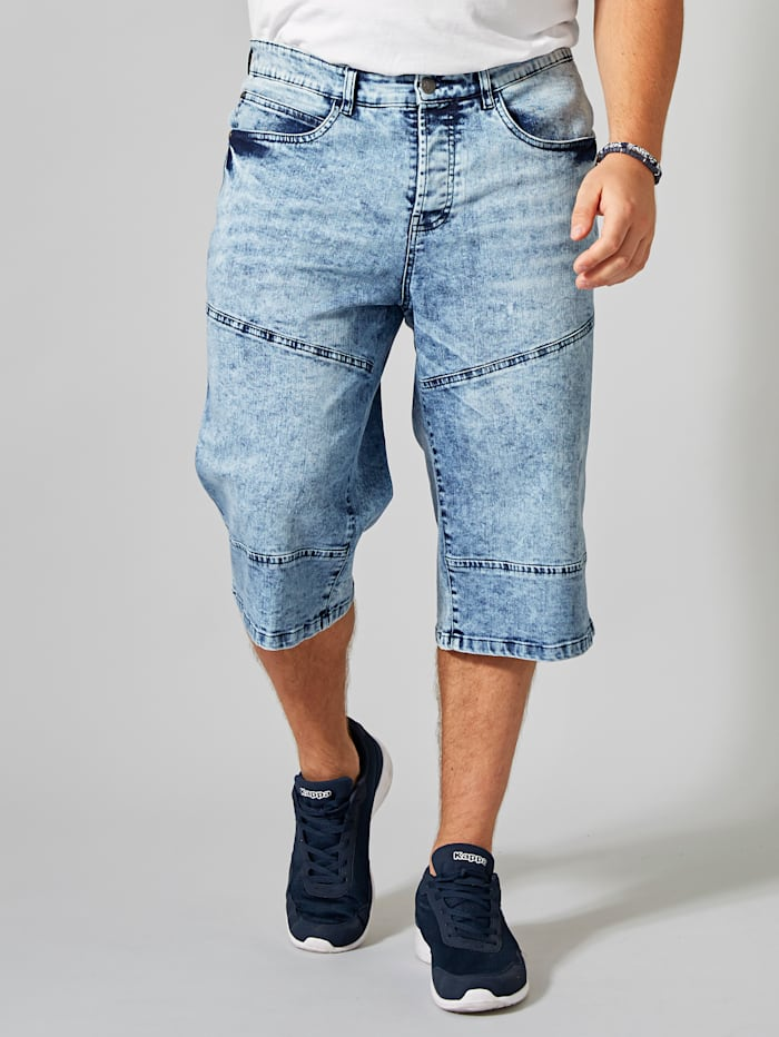 Men Plus Longjeans-Bermuda, Blue stone