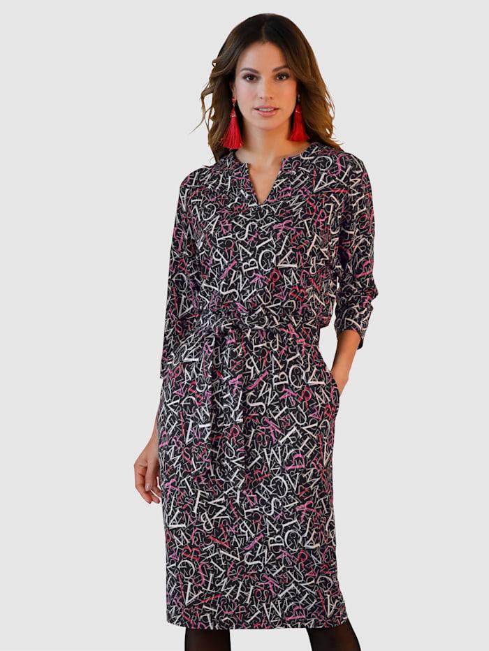 AMY VERMONT Jerseykleid mit Allover-Druck, Schwarz/Multicolor