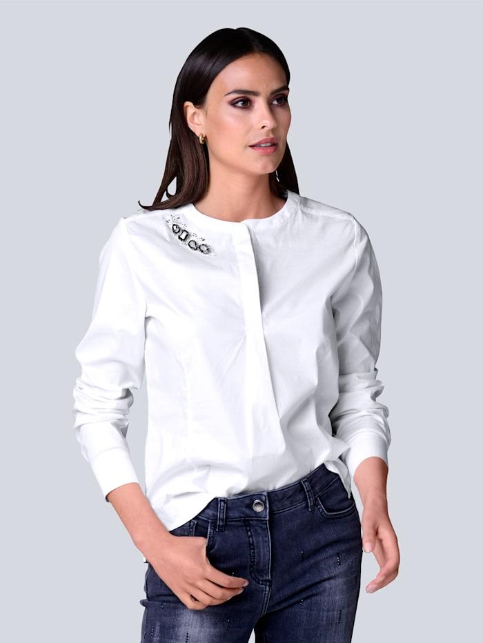 Alba Moda Bluse mit Schmucksteinen am Ausschnitt, Weiß
