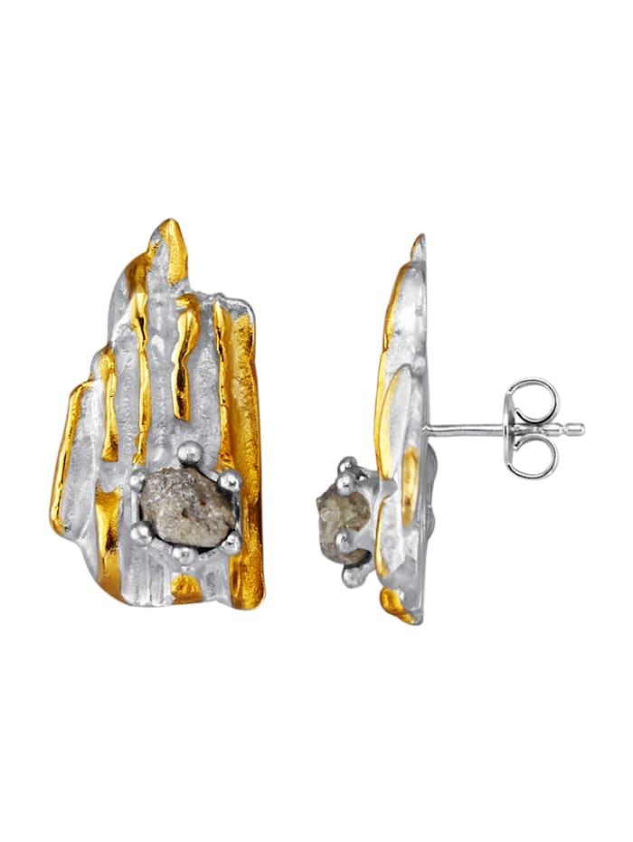 Ohrstecker mit Rohdiamant, Silberfarben