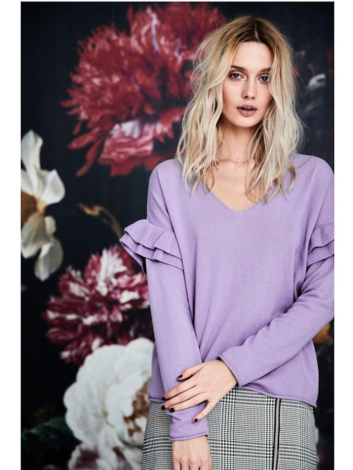 Pullover mit Rüsche und tiefem V-Ausschnitt
