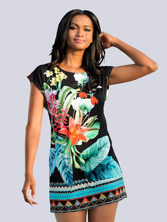 Alba Moda Shirt mit Bordüren-Druck, schwarz-multi