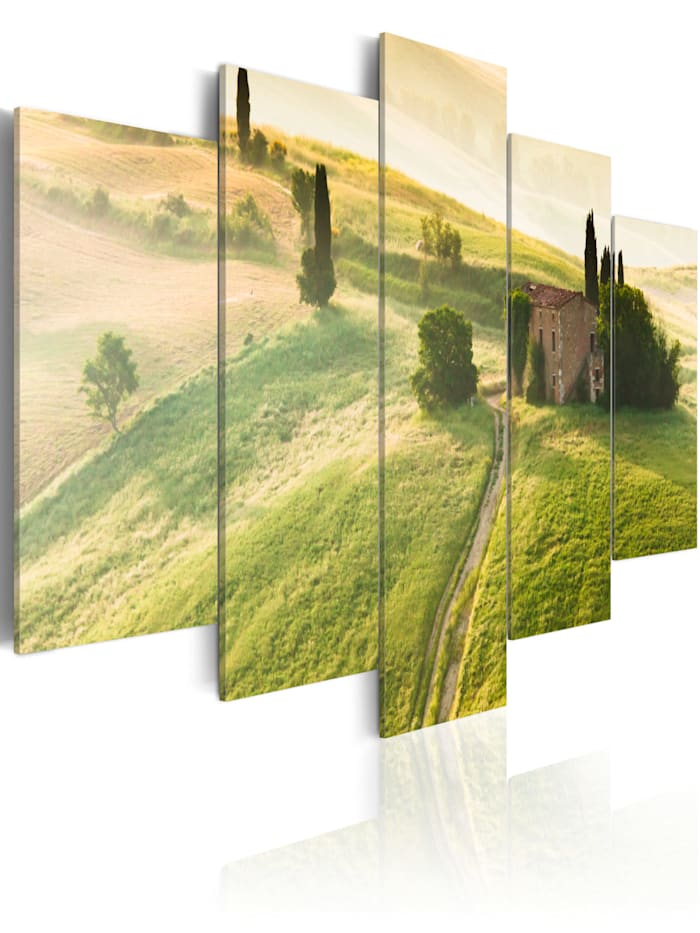 artgeist Wandbild Grüne Toskana, Grün,Weiß,Braun